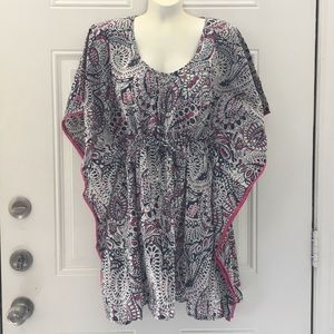 World Market Poncho Bat Wing Tie Waist Top S/M